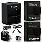 Smatree® High Capacity Li-Polymer Battery (2-Pack) 1290mAH and Rapid Dual Charger Kit Including USB Cord and Car Adapter with Wall and US Plug for GoPro® HD HERO3,HERO3+ Replacement GoPro AHDBT-201, AHDBT-301, AHDBT-302, AHBBP-301, ACARC-001, AWALC-001