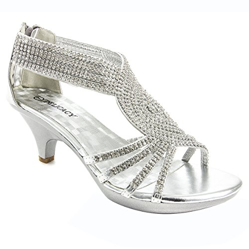 V-Luxury Womens 32-ANGEL37 Open Toe Med Heel Wedding Sandal Shoes, Silver, 7.5 B (M) US
