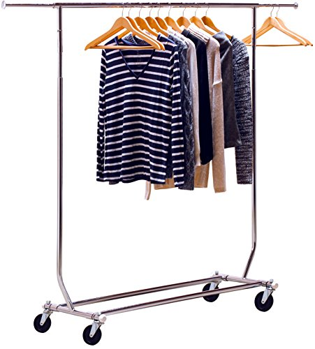 DecoBros Supreme Commercial Grade Clothing Garment Rack, Chrome (Heavy Duty Rolling Garment Rack compare prices)