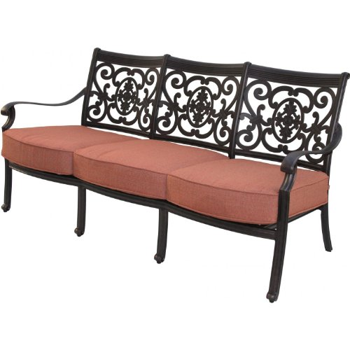Darlee St. Cruz Cast Aluminum Deep Seating Patio Sofa - Antique Bronze