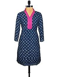 Unnati Silks Women Pracheen Kala Navy Blue Cotton Dabu Printed Kurta - B00WO8Y7YQ