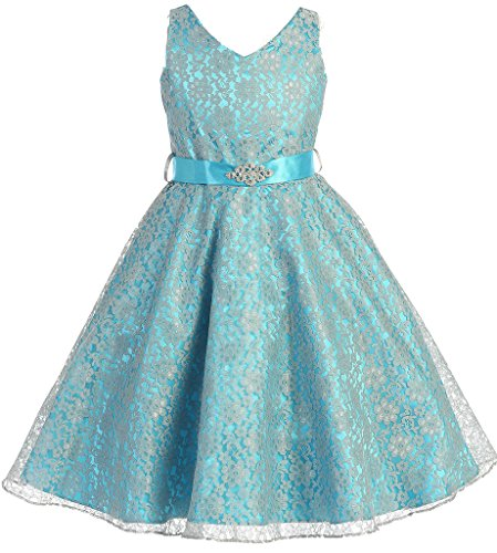 AkiDress Lace Floral Pattern Flower Girl Dress for Big Girl Turquoise 10 G35.11G (10g Tank compare prices)