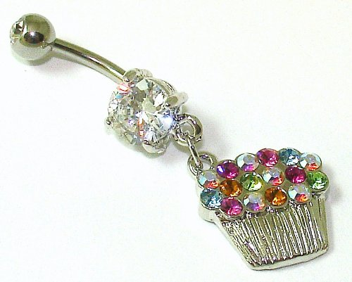 Belly Bars - Pierced & Modified - Body Jewellery - Crystal Cupcake Navel Bar - Multicolour