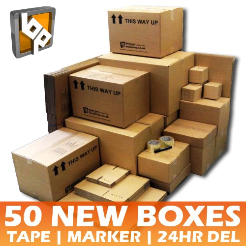 50 Cardboard Removal Boxes - House Moving Pack + 2 Tapes, 1 Pen + Free Delivery!
