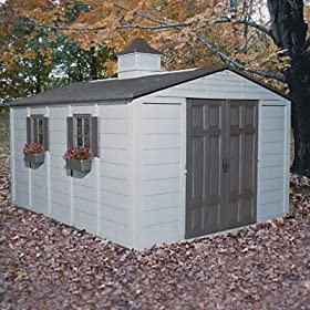 ~:~ SUNCAST CORPORATION ~:~ Storage Building, Resin, 125-1/8w x152-1/4d x 90-3/4h, 775 cu ft, Taupe/Bronze