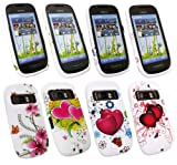 Emartbuy® Nokia C7 Bundle Pack of 4 Silicon Skin Cover/Case - Lillies & Butterflies, Pink Hearts, Twin Hearts & Love Hearts
