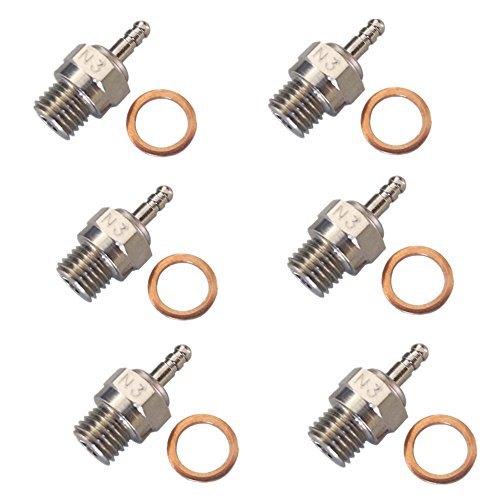 Hobbypark 70117H Hot Glow Plug N3 No. #3 Spark Nitro Engine Parts Replace OS For HSP Traxxas Himoto RC Car Truck Buggy (Pack of 6) (Glow Plugs Rc compare prices)