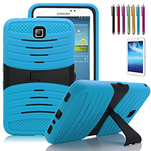 Windrew Heavy Duty rugged impact Hybrid Protective Case Stand For Samsung Galaxy Tab 3 7.0 SM-T210 /P3200 7.0 Inch Android Tablet + free stylus pen and Screen protector Film (Blue)