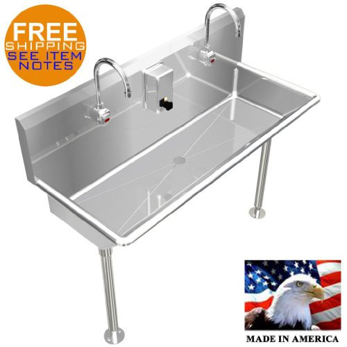 """2 Users Multi Station 48"""" Wash Up Hand Sink, Hands Free"""