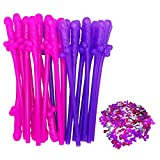 24 Pack Bachelorette Party Drinking Straws for Girls Night Out Bachelor Supplies Favors Party Gift Idea (Colorful Straws 24 Pack with 1 pack Confetti)