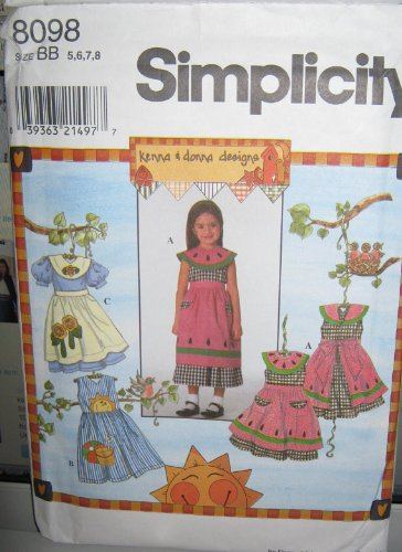 Simplicity 8098 Girls' Dress and Apron by Kenna & Donna - Size AA (3, 4, 5, 6)