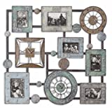 """Uttermost 36.3"""" Inch Petina Photo Collage & Clock Wall Mounted Combination Of Antiqued Blue/Green"""