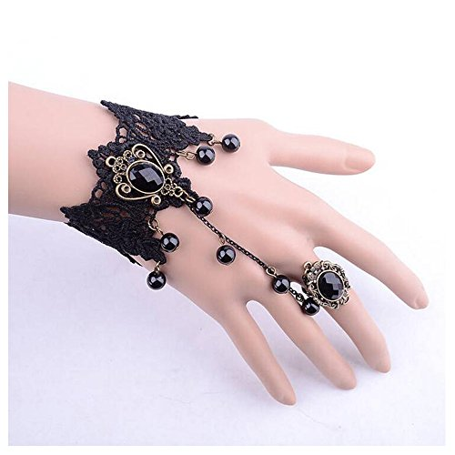[Luck Wang Woman's Unique Fashion Halloween Black Lace Pearl Bracelet] (Make Imperial Guard Costume)