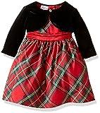 Blueberi Boulevard Baby Girls Plaid Velvet Dress, Red, 12 Months