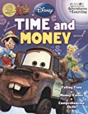 Disney & Pixar Film Characters Adventures in Learning Time & Money 32 Page Workbook Learn How to Tell Time and Count Money