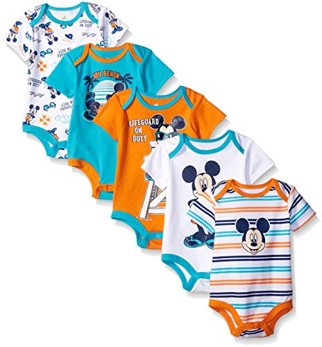 Disney Baby Mickey 5 Pack Bodysuits, Multi/Orange, 12-18 Months