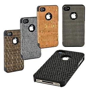 Schutzhülle für Apple iPhone 4 & 4S Backcover in Natur Optik mit verschiedenen Oberflächen aus Nature Line von MACOON, Farbe:kariert