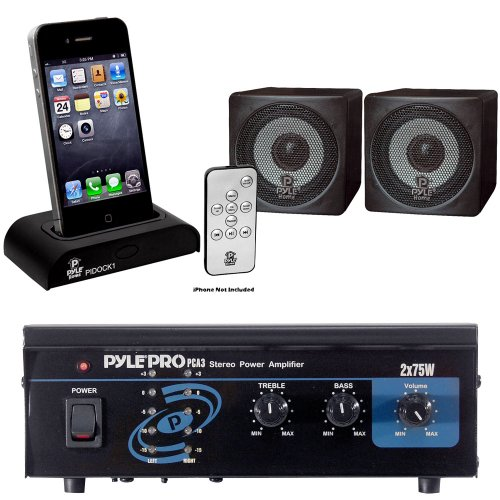 Pyle Audio System For Home, Studio, Bar Etc. - Pca3 Mini 2X75W Stereo Power Amplifier - Pcb3Bk 3'' 100 Watt Black Mini Cube Bookshelf Speaker In Black (Pair) - Pidock1 Universal Ipod/Iphone Docking Station For Audio Output Charging - Sync W/Itunes And Rem