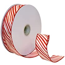 Morex Ribbon Peppermint Stripe Wired Ribbon 1-1/2-Inch by 50-Yard Spool Red/White