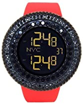 JOJINO 25.00ct Lab Made Diamond Watch by Joe Rodeo Watch All Blacked Out Case Mens Digital Watch Red Matte Band