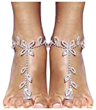 Bellady 2 Pieces Women's Foot Chain Barefoot Sandals Beach Wedding Jewelry Anklet with Rhinestone Toe Ring