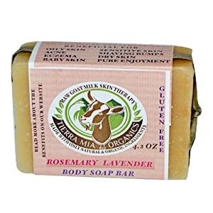 Tierra Mia Organics, Raw Goat Milk Skin Therapy, Body Soap Bar, Rosemary Lavender, 4.2 oz