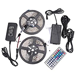 XKTTSUEERCRR 10M/32.8Ft, 5050 SMD 150LED (Two Rolls) Waterproof Flexible RGB Color Changing LED Light Strip for Decoration + 44key Multifunctional Remote Controller + Power Supply + Signal Amplifier
