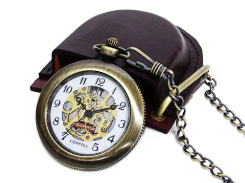 * Pocket watch retro antique brass (skeleton) with case...