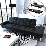 vidaXL Schwarzes Verstellbares Sofabett Kunstleder
