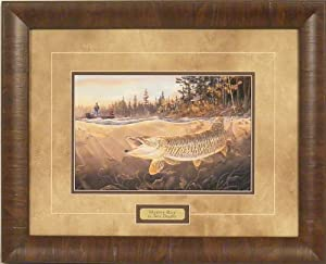 Muskie Bay by Terry Doughty 17x21 Musky Fish Fishing Wildlife Framed Art Print Wall Décor Picture