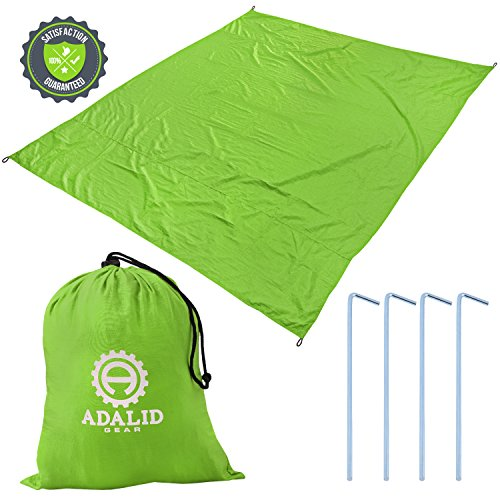 Beach Blanket with Accessories: Nylon Tote Pouch & 4 Stakes / Pegs - Also Used as Outdoor Camping Gear, Oversized Mat, Shade Tarp and Picnic Throw (Lime Green, Medium)
