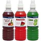 VICTORIO Shaved Ice/Snow Cone Syrup, Tropical Punch, Watermelon, Lime 3PK