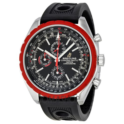 BREITLING CHRONOMATIC 1461 A1936003-BA94BKOR GENTS BLACK RUBBER DATE WATCH