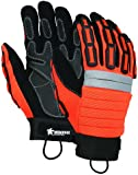 MCR Safety 945XXXL High Vis Orange Mining Gloves with Reinforced Palm Patches, Black, 3X-Large, 1-Pair