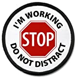 51Kow7QMJZL. SL160  IM WORKING DO NOT DISTRACT Dog Black Rim 4 inch Sew on Patch