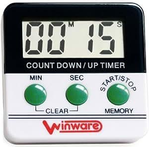 WINWARE - Minuteur électronique pour Cuisine/Cuisson/exercices/activités sportives (minutes and secondes) - Léger et facile à utiliser, aimant magnétique au dos, Caractères de grandes tailles et alarme sonore. (Piles incluses).