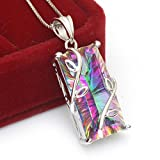Jewelrypalace Women's 16ct Natural Rainbow Mystic Topaz Pendant 925 Sterling Silver Necklace 18
