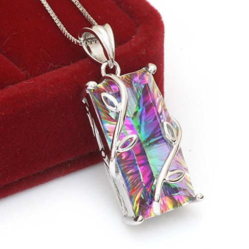 Jewelrypalace Rainbow Mystic Topaz November Birthstone Pendant 925 Sterling Silver Necklace