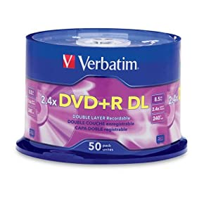 Verbatim 96577 8.5 GB AZO 2.4X Double Layer Recordable Disc DVD+R DL, 50-Disc Spindle (Discontinued by Manufacturer)