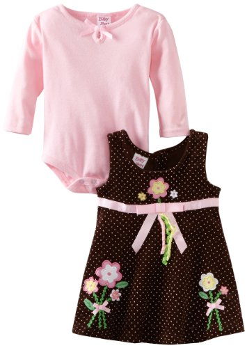 Blueberi Boulevard Baby-girls Newborn Printed Cord Jumper With Knit Body Suit, Brown, 3-6 Months