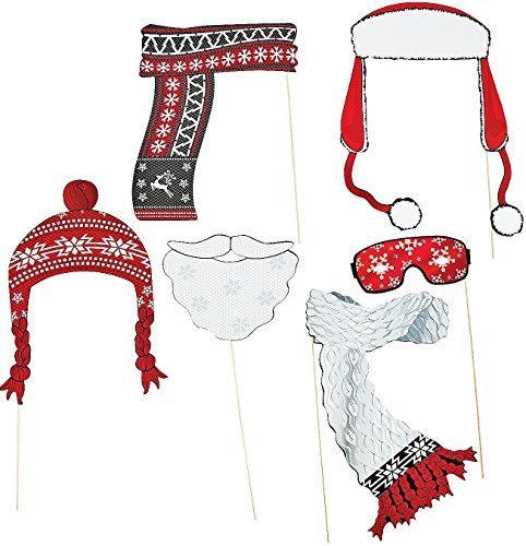 "Red & White Stick Costume Props. Assorted (6 Pcs) 6 1/2"" -10"" X 13"" - 18"". Paper."