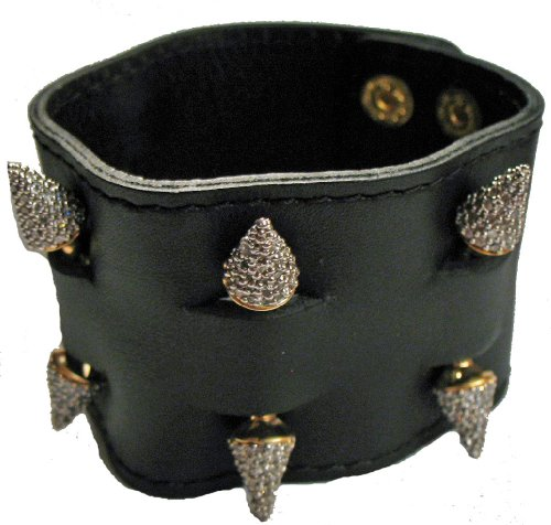 nOir Leather Cuff Bracelet  Pave Spikes (White)