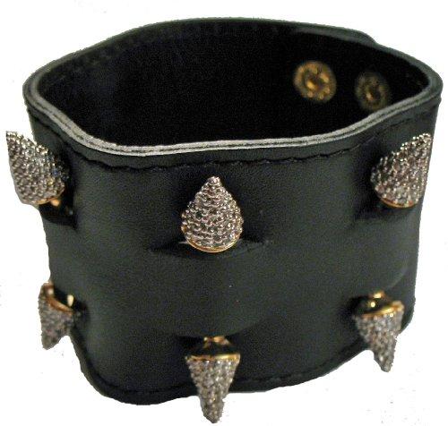 nOir Leather Cuff Bracelet  Pave Spikes (White)