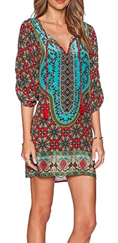 women-bohemian-shirt-dress-ethnic-style-vintage-printed-neck-tie-small-pattern-a