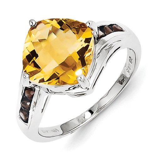 Garnet & Citrine Ring In Sterling Silver - Cushion Shape - Elegant