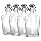 Paksh Novelty Bormioli Rocco Clear Glass Swing Top Pocket Flask / Glass Liquor Bottle | 17 oz [set of 4]