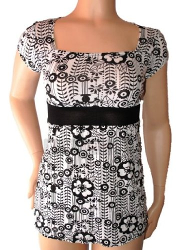 Ladies Teens Girls Black & White Square Neck Floral Tunic Dress Top Size 12 NEW