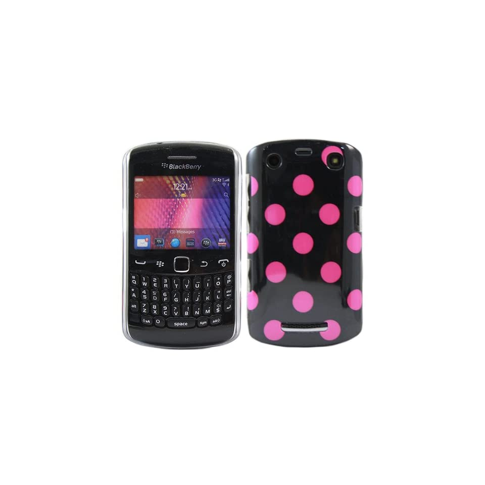 iTALKonline IMPERIAL PINK BLACK POLKA DOTS Pattern Super Slim Hydro Hard Protective Armour/Case/Skin/Cover/Shell for BlackBerry 9360 Curve