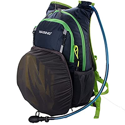 WASING-Hydration Pack Premium Backpack Daypack with 2.0L(70oz) Bladder.3 Large Storage Compartment, Rain Cover and helmet bag ,Rucksack For Hiking-Running-Cycling-Climbing-Skiing For Men,Women, Kids