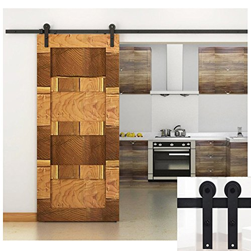 hahaemall-5ft-60-modern-country-single-steel-sliding-barn-wood-door-hardware-antique-roller-black-tr